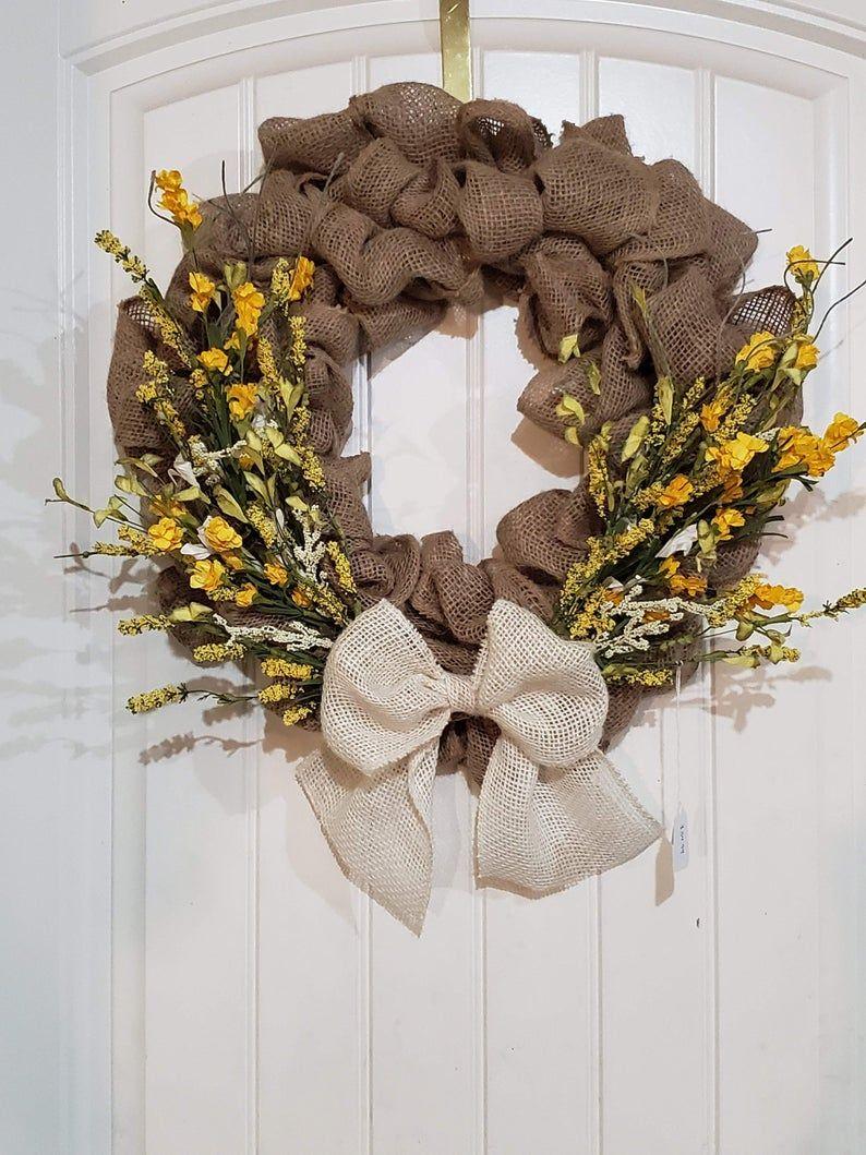 Yellow Wild Flower Wreath, Yellow Wreath, Country Wreath, Floral Wreath, Farmhouse Wreath, Rustic Wreath