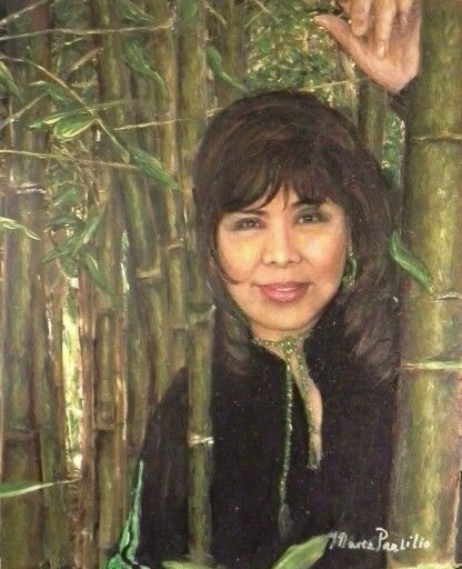 Maria Panlilio) loves bamboos - a self-portrait (16x20, Circa 2007, water-mixable oil , collection: the artist)