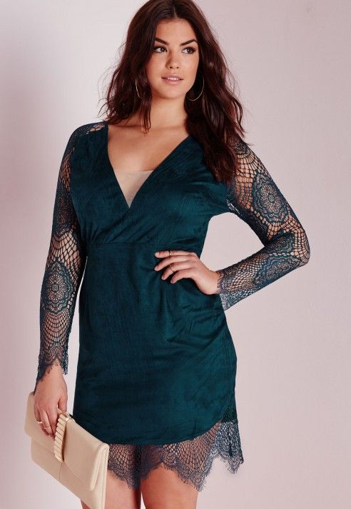 Plus Size Lace Sleeve Midi Dress Teal Plus Size Plus Size
