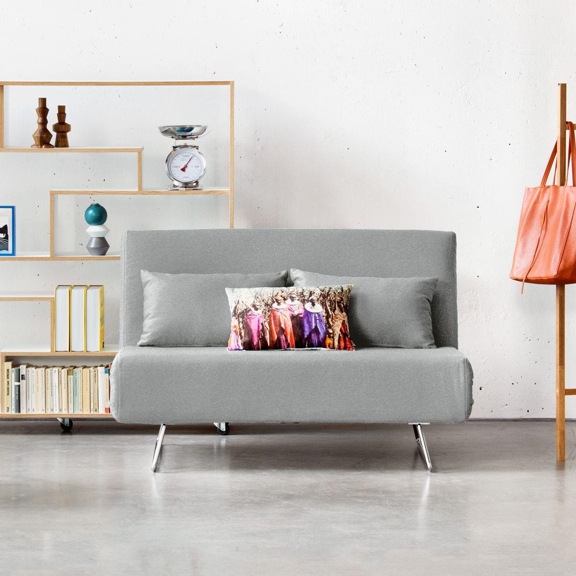 schlafsofa frizzo - webstoff - stoff olessa grau - gästebett, Wohnzimmer dekoo