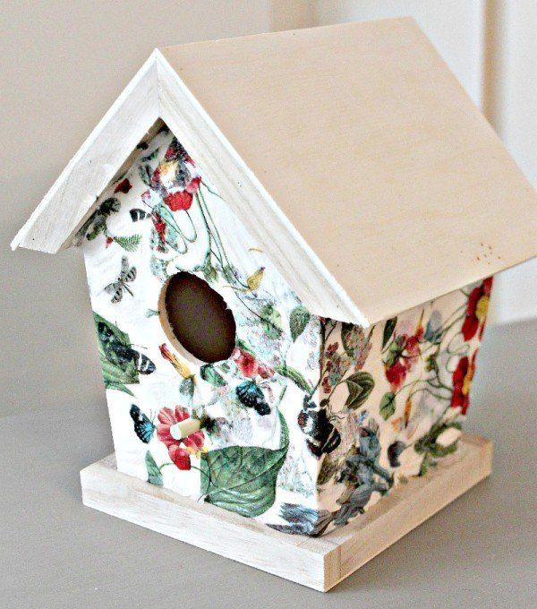 Napkin Decoupage Birdhouses
