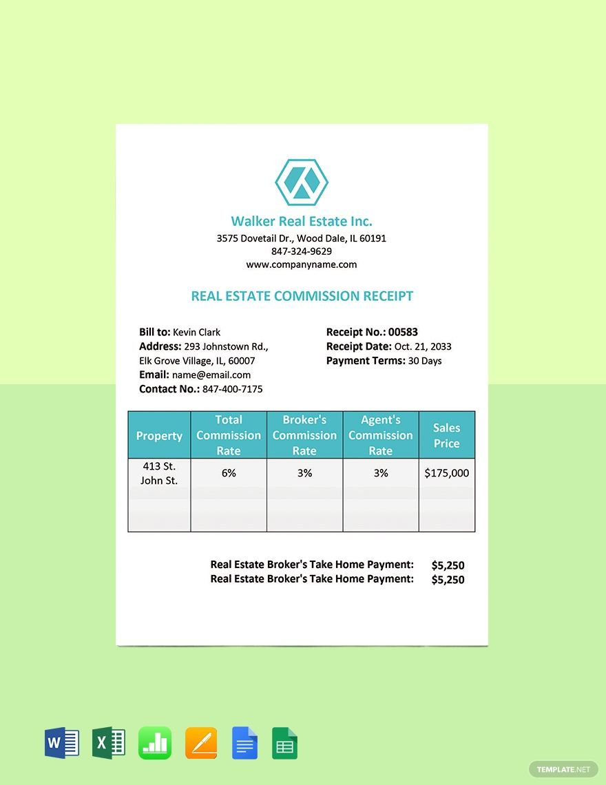 Real Estate Commission Receipt Template Free Pdf Word Excel Apple Pages Google Docs Google Sheets Apple Numbers Receipt Template Templates Printable Free Document Templates