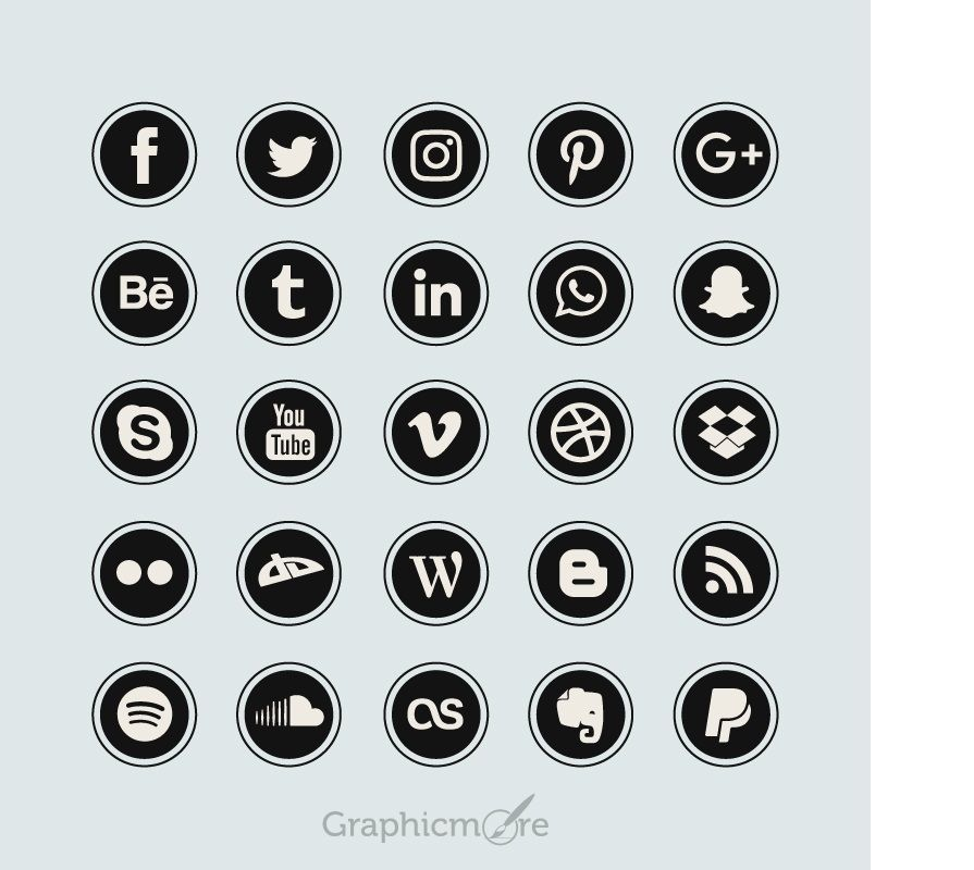Black Flat Social Media Icons Design Free Vector File Social Media Icons Vector Social Media Icons Free Social Media Logos