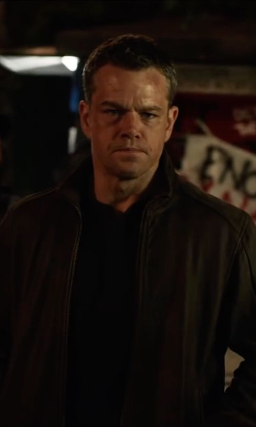 Matt Damon Tommy Hilfiger Faux Leather Stand Collar Bomber Jacket From Jason Bourne Thetake Jason Bourne Matt Damon Matt Damon Jason Bourne
