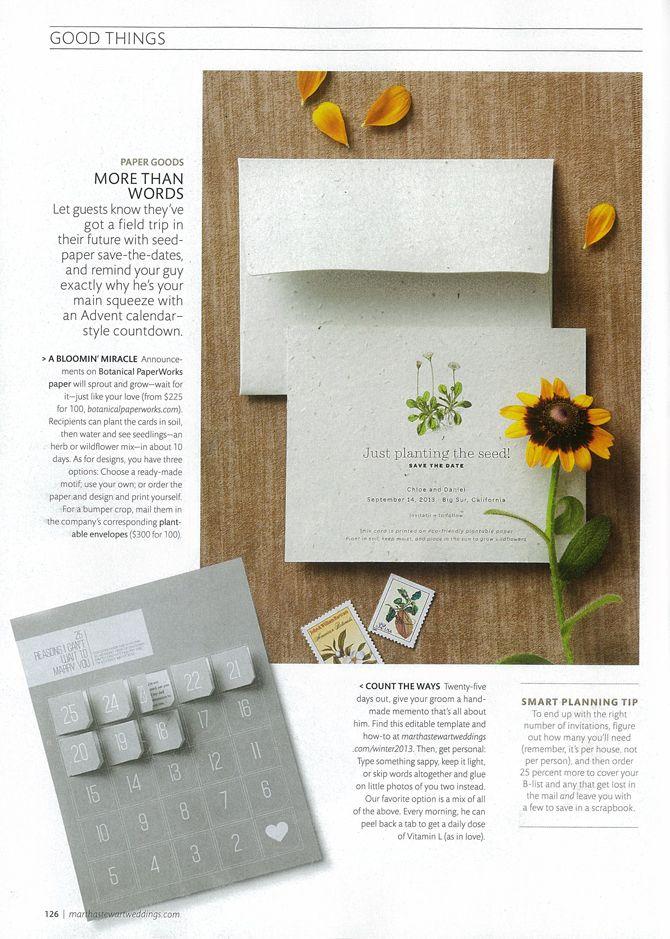 Plantable Custom Wedding Stationery is Featured in Martha ...