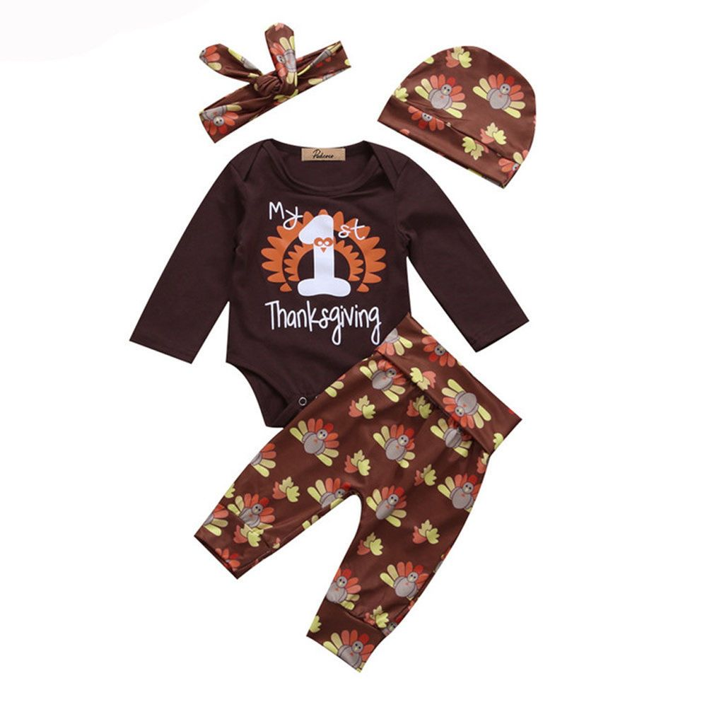 Toddler Kids Thanksgiving Day Baby Boy Girl Clothes Top Romper+Pants Outfit Set
