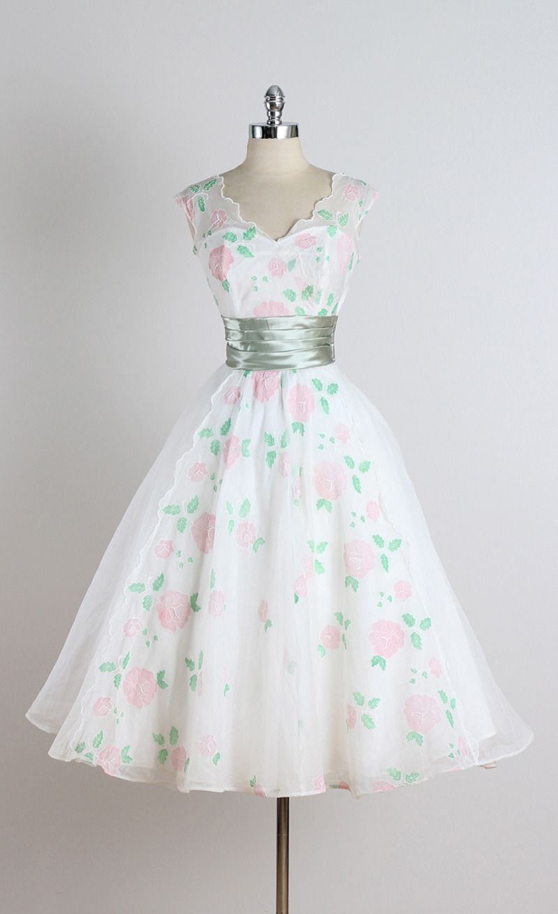 Vintage 1950s White Rose Organza Cocktail Dress   From a collection of rare vintage evening dresses at https://www.1stdibs.com/fashion/clothing/evening-dresses/