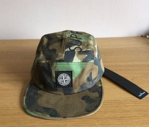SUPREME-X-STONE-ISLAND-CAMO-CAMP-CAP-HAT-5-PANEL-BRAND-NEW-WITH-TAGS ... 797f8a170935