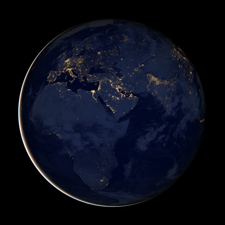 city lights of Africa, Europe and the Middle East