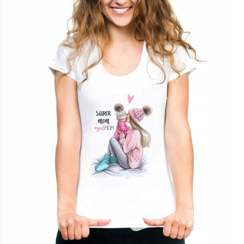 Hitowe Koszulki Bluzki Mama I Corka M 38 Promocja 8063330370 Oficjalne Archiwum Allegro Super Mom Tshirt T Shirts For Women Streetwear Women