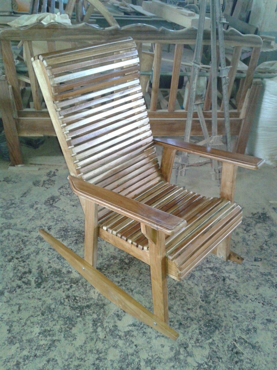 Silla mecedora en madera teca reciclada | Mis Trabajos | Pinterest ...