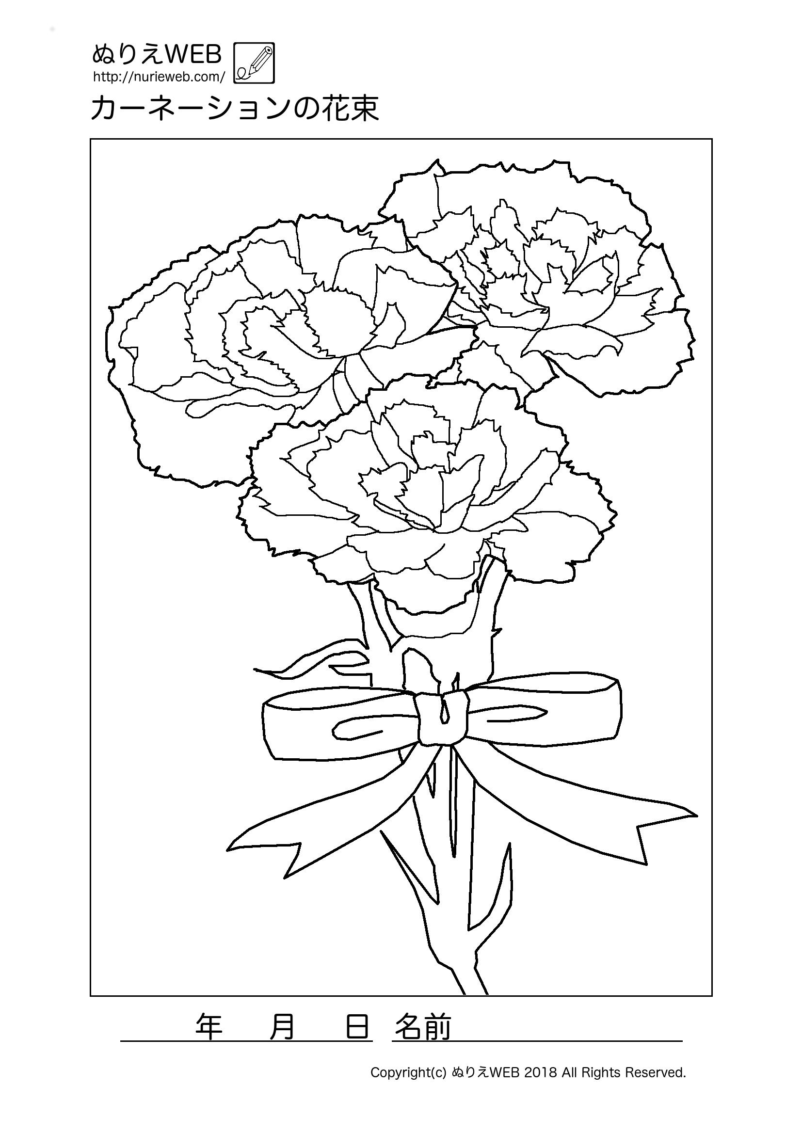 ぬりえweb カーネーションの花束の塗り絵 塗り絵 花の塗り絵 花 イラスト