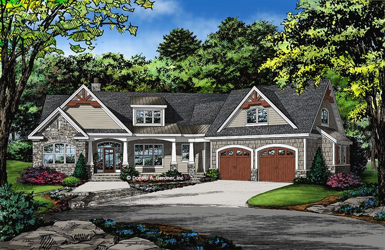 Home Plan The Oliver By Donald A Gardner Architects Craftsman Style House Plans Craftsman House Plans House Plans One Story