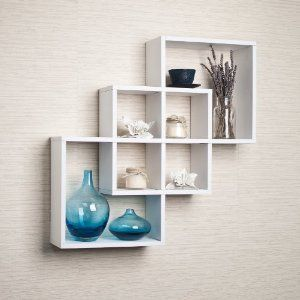 Intersecting Squares Decorative White Wall Shelf Floating Shelves