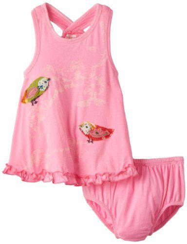 Soft and comfortable knit dress with matching diaper cover. Beautiful screen print and embroidery.