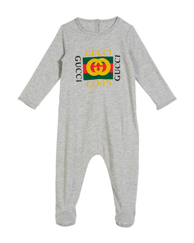 e10054237 Gucci Long-Sleeve Vintage Logo Footie Pajamas, Size 0-9 Months in ...