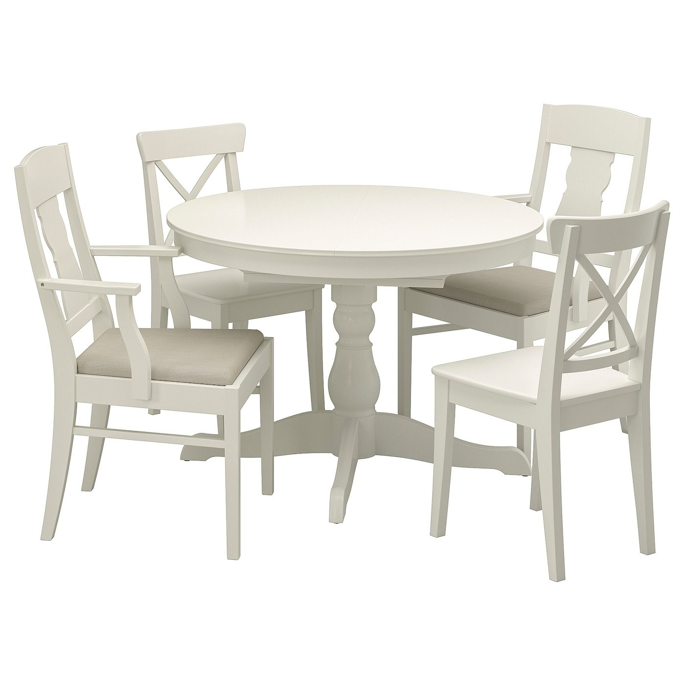 Ingatorp Ingolf Table And 4 Chairs White Nordvalla Beige 43 1