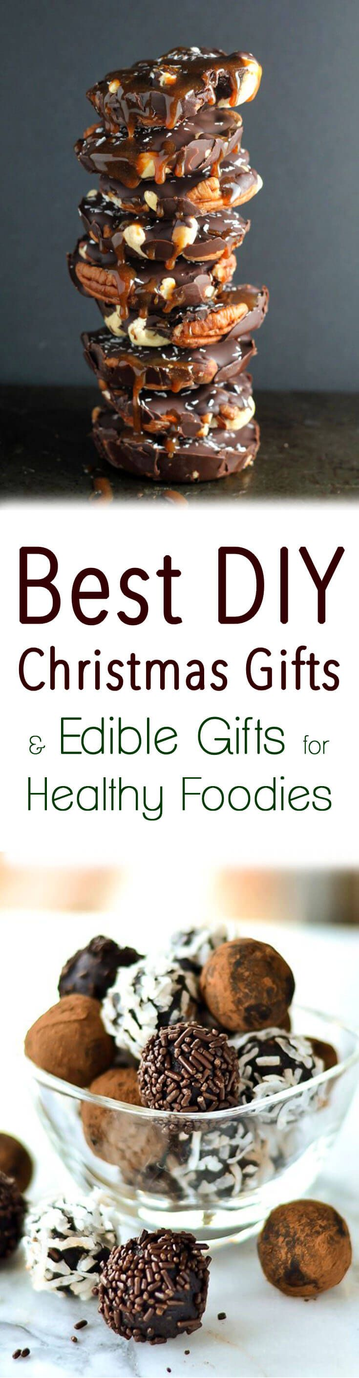 Check out this round up of the Best DIY Christmas Gifts and Edible Gifts for Healthy Foodies including recipes for chocolate bark, jams, cookies and more!