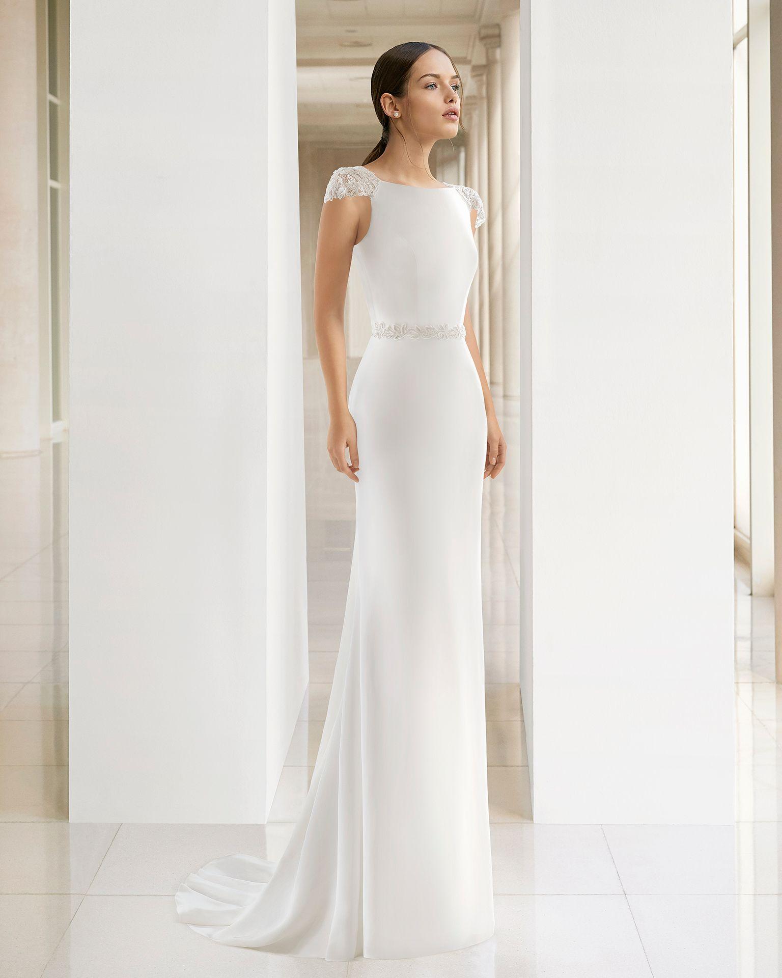 Vestido de novia corte recto 2019
