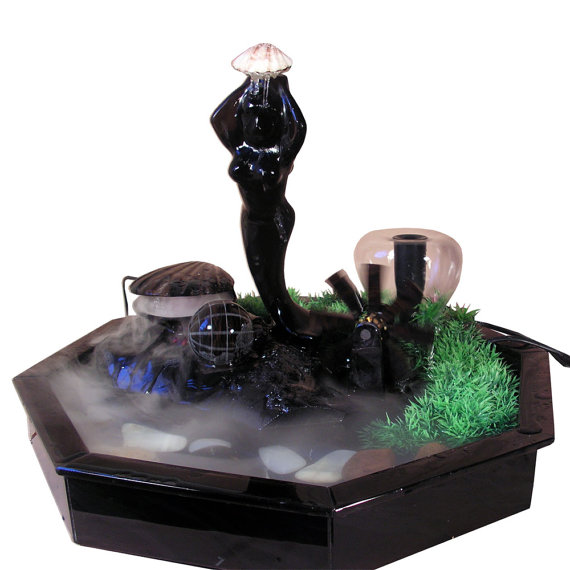 Mermaid Tabletop Water Fountain With Spinning Globe, Mill And Shell /  Handmade Relaxing Waterfall From