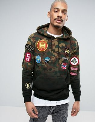 Reason Hoodie In Camo Dip Dye With Patches - that should be mine! f11b638c10