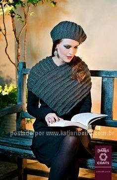 Boina e Pelerine em Tricô com receita e gráfico - Katia Ribeiro Crochê Moda  e Decoração 8b64a4b7422