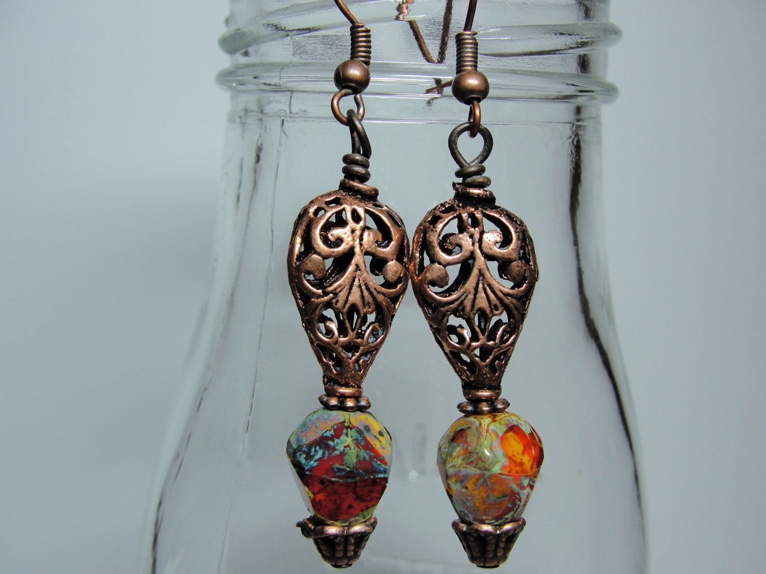 African Sunset Earrings by ChickieJanesJewelry on Etsy
