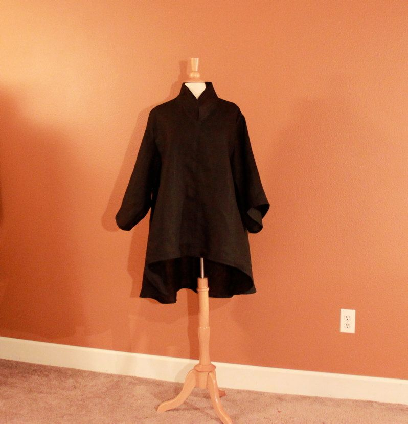 Custom heavy weight linen asian long length blouse made to fit listing. $148.00, via Etsy.