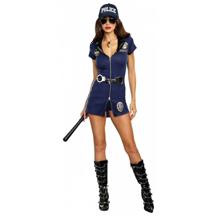 NEW POLICE Fancy Dress Costume T-Shirt Top SWAT Retro Party