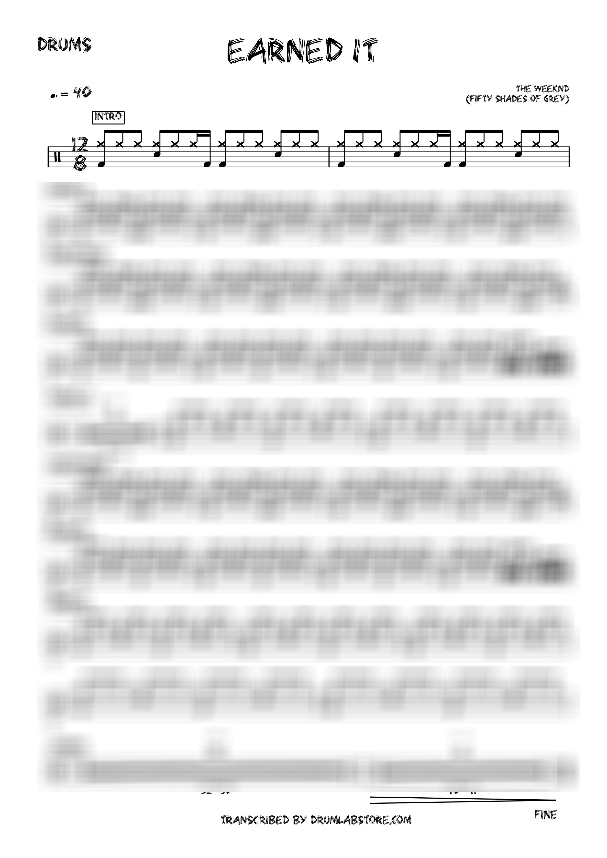 The Weeknd Earned It 50 Shades Of Grey Drum Sheet Music Drums