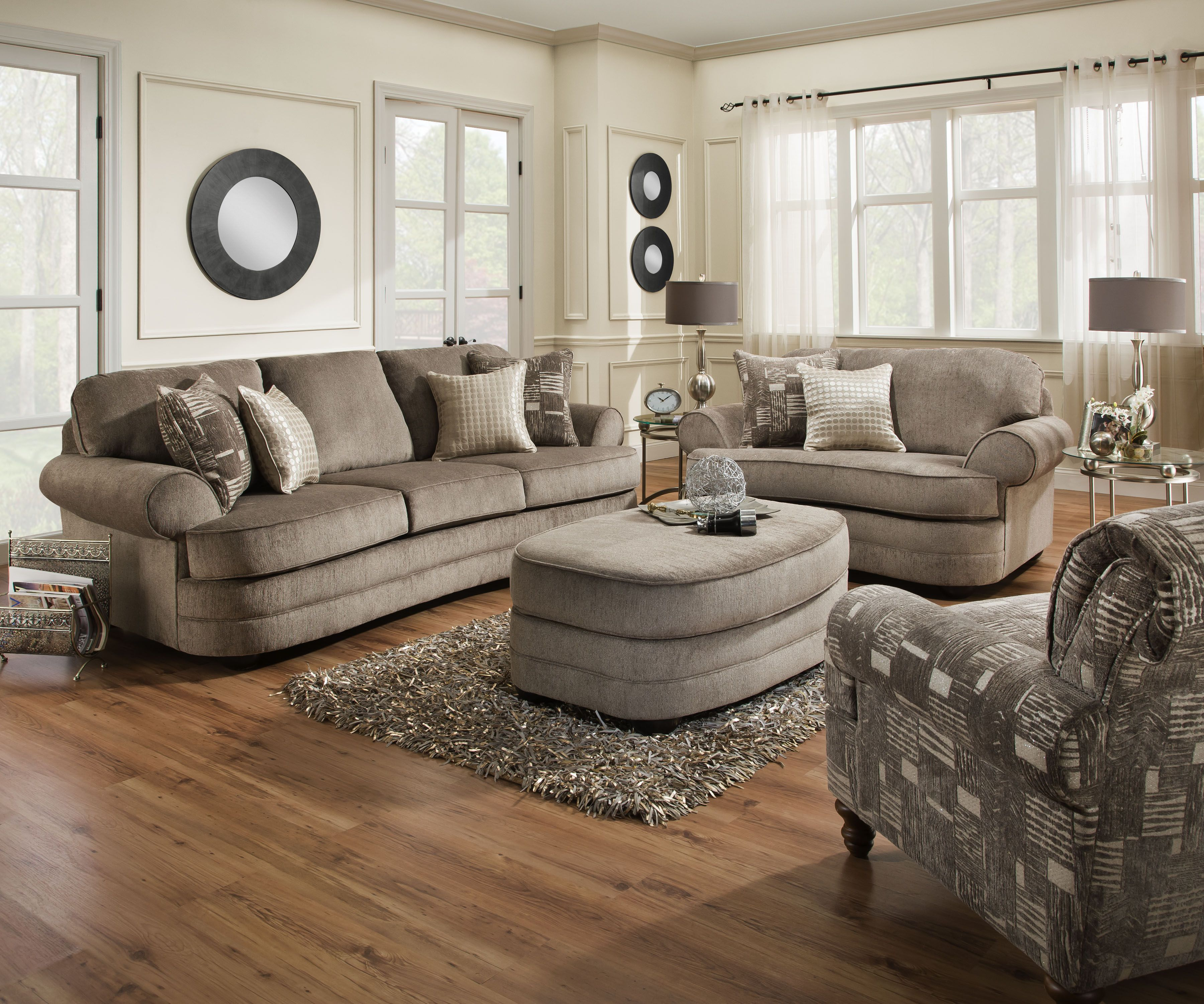 Grandstand Fawn Sofa And Chairu00261/2 With Ottoman And Toss Pillows Beautyrest  By Simmons $1099.00