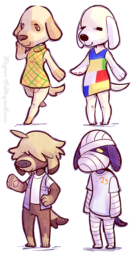 Animal Crossing Dog Villagers Goldie, Lucky, Shep, and
