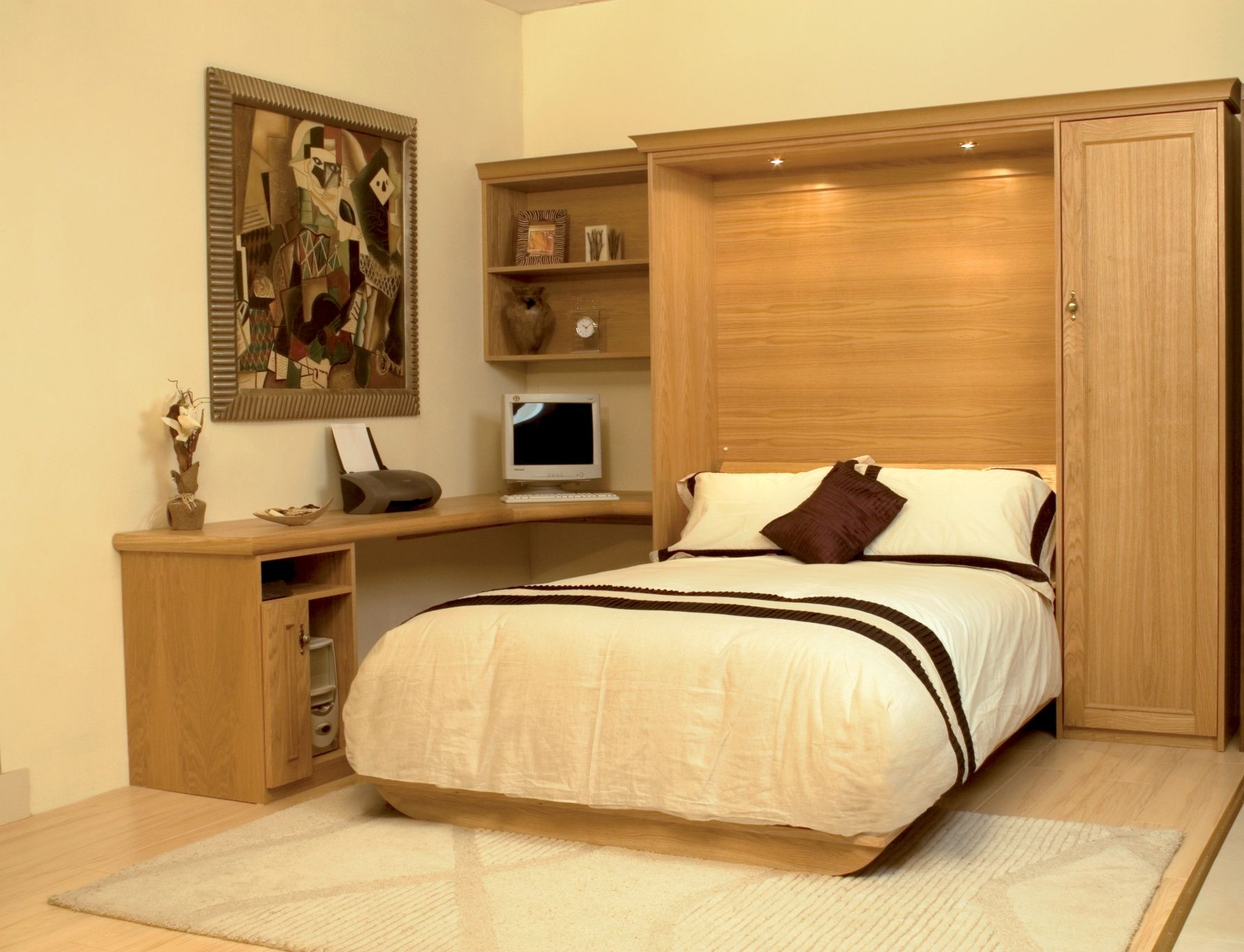 Oak wallbed with desk area and storage. Classy, space saving design ...