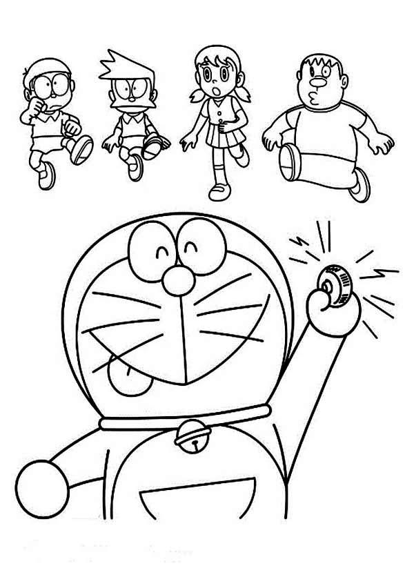 Doraemon Calling Nobita Suneo Shizuka And Giant Coloring Pages Netart Doraemon Coloring Pages Color