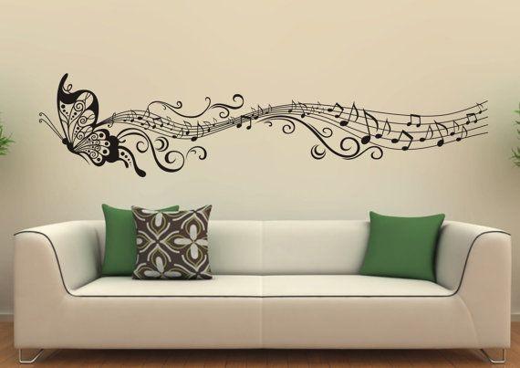Music Butterfly Wall Decals Wall Stickers Vinyl Wall Decor Sticker Home Decor Housewares