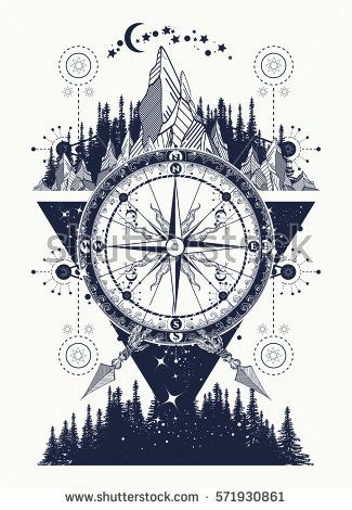 cbcd3f89e Mountains and antique compass tattoo art. Adventure, travel, outdoors,  symbol. Compass, mountains and night forest boho style, t-shirt design
