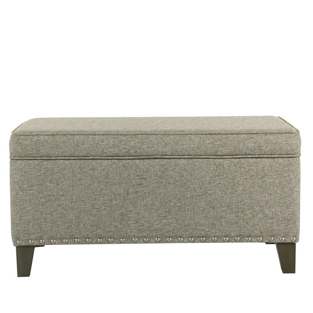 Fantastic Blake Large Storage Bench With Nailhead Trim Sterling Gray Machost Co Dining Chair Design Ideas Machostcouk