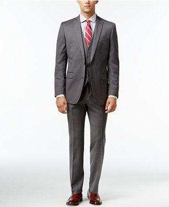 Bar III Mid-Grey Pindot Slim-Fit Suit Separates - Suits & Suit Separates - Men - Macy's