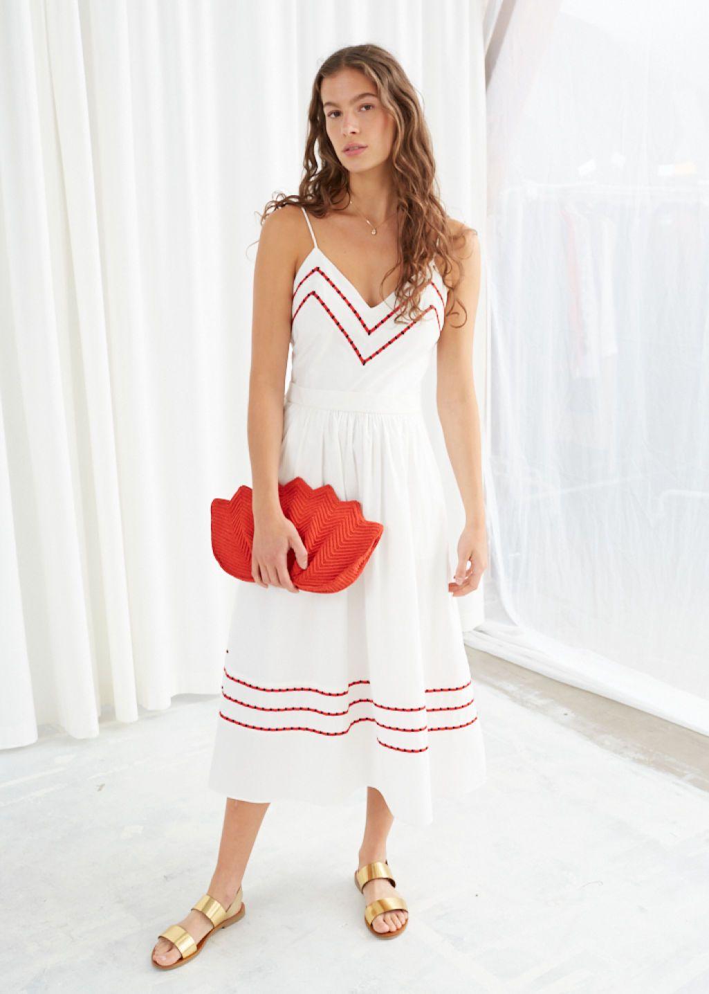 eeac10bf7 Chevron A-Line Cotton Dress - White - Midi dresses -   Other Stories ...