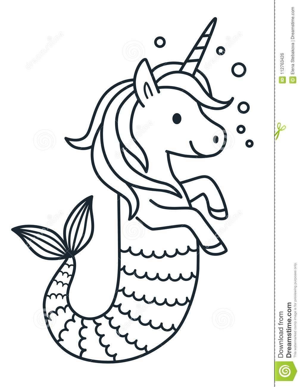 Unicorn Mermaid Coloring Pages Cinebrique