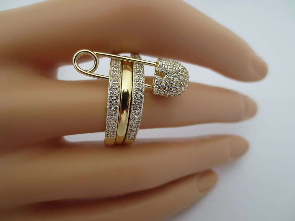 3k custom made stack of 3 band ring with safety pin