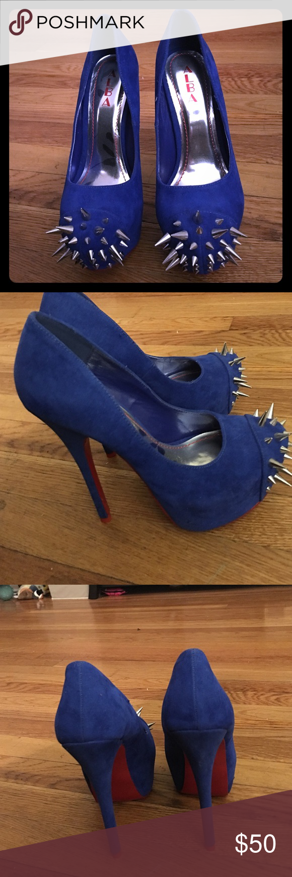 d0f07505e9a Alba Spike Stilettos- Royal Blue Suede- Red Bottom Brand New without ...