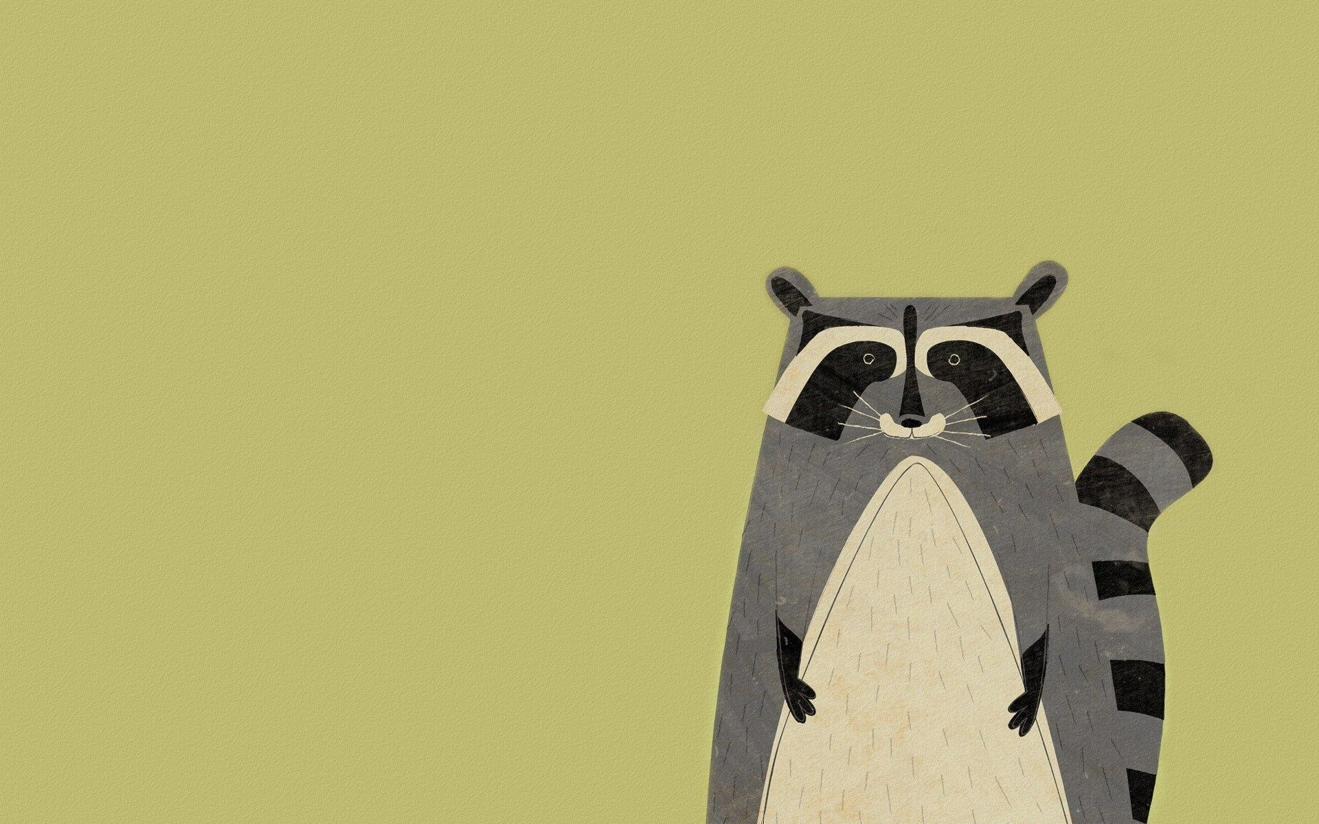 Animal Raccoon Minimalism Art HD Wallpaper - FreeHDWalls | Procyon ...