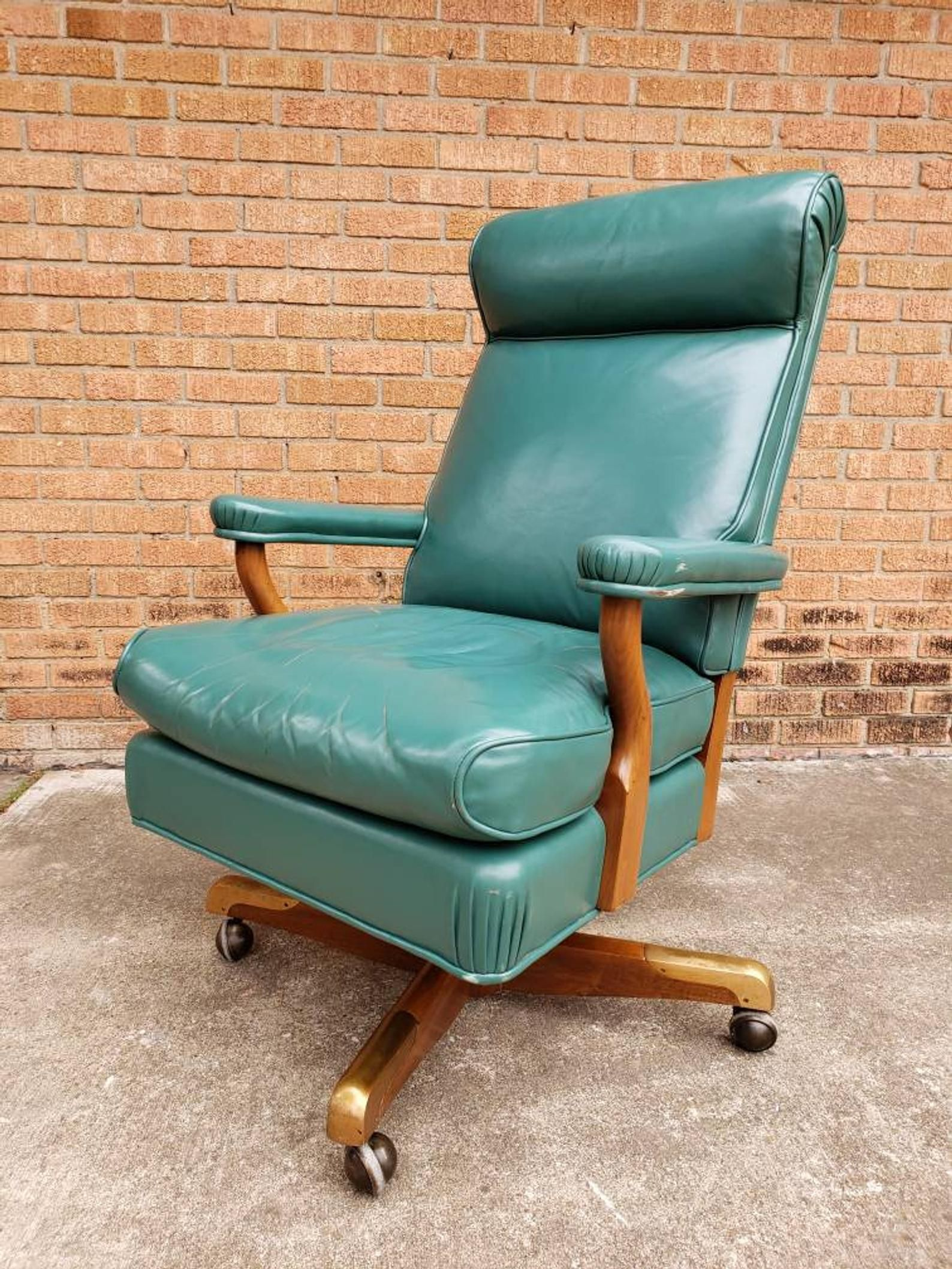 Antique leather walnut executive office chair with