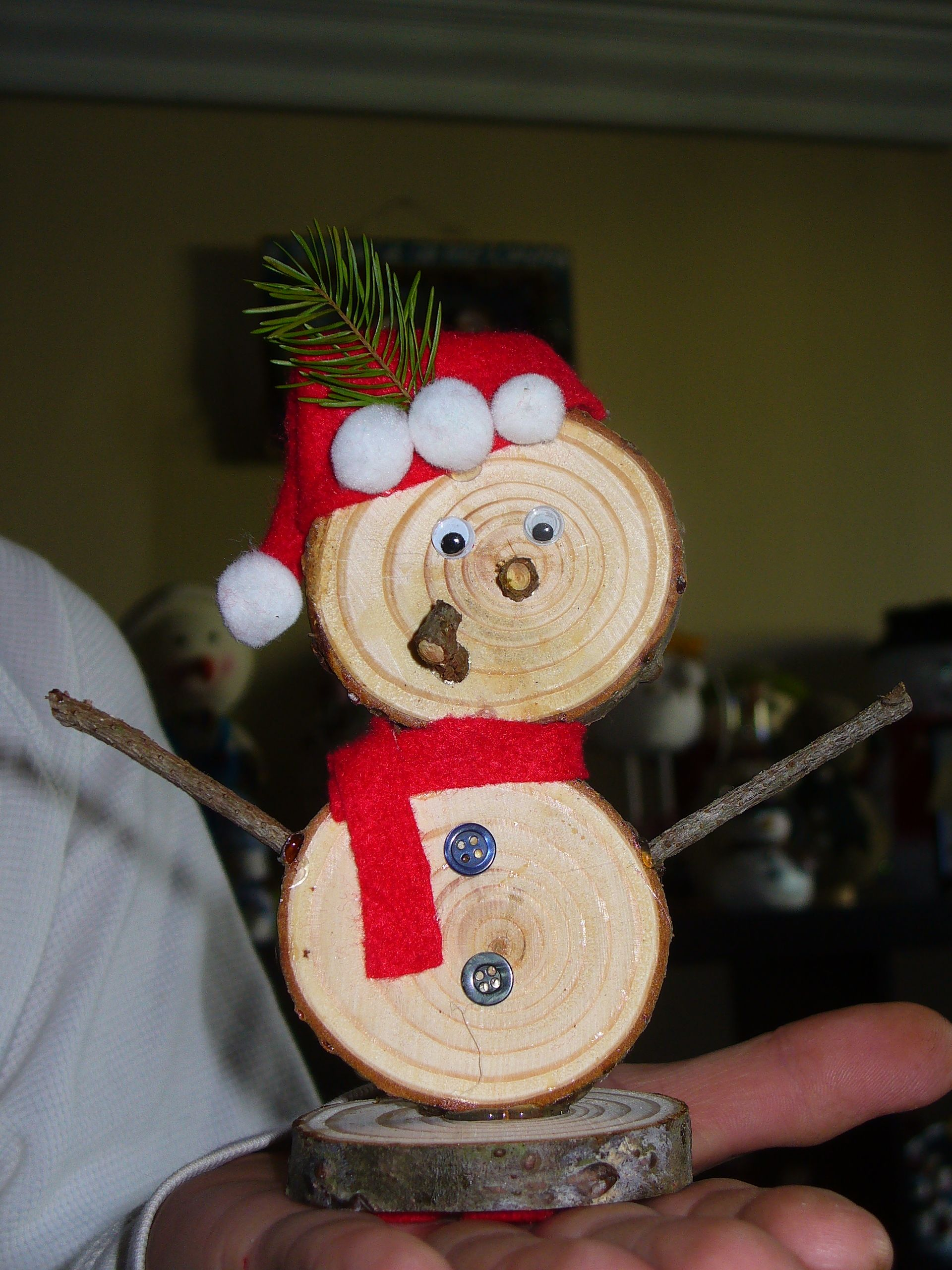 Snowman my Honey made of wood cut from our Christmas Tree