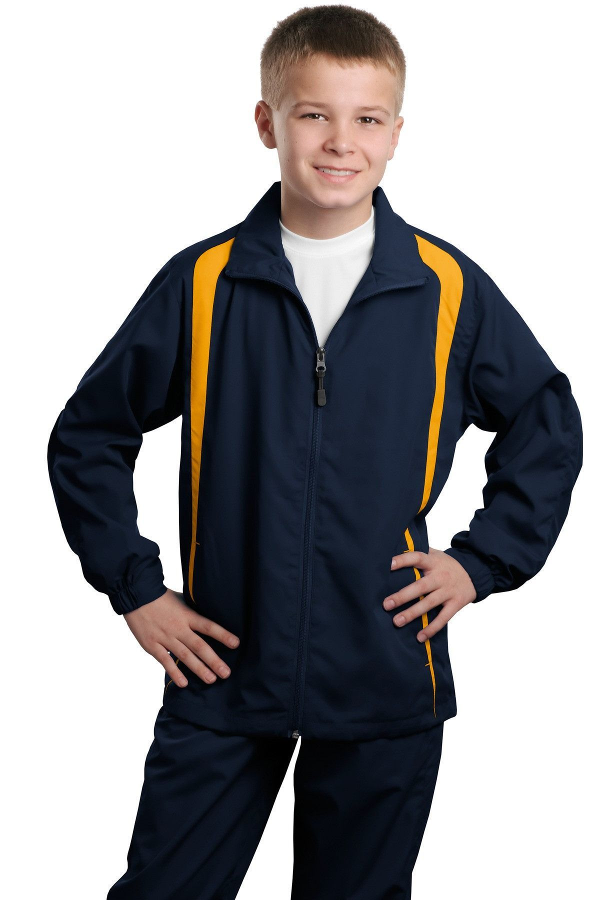 SportTek Youth Colorblock Raglan Jacket YST60 True Navy