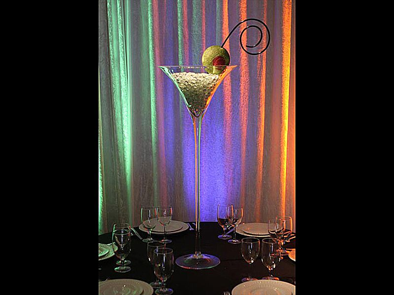 Tall martini glass centerpiece event planning the art