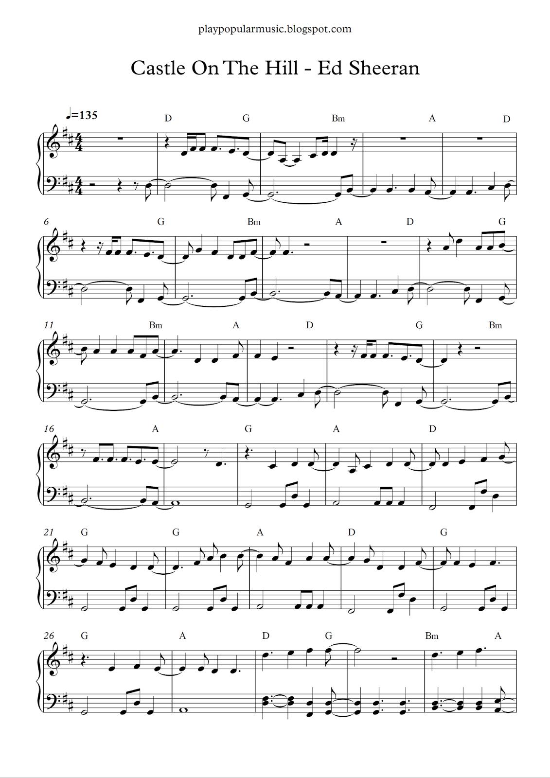 Free Piano Sheet Music Castle On The Hill Ed Sheeran Pdf I Miss The Way You Make Me Feel Piano Sheet Music Free Piano Sheet Clarinet Sheet Music