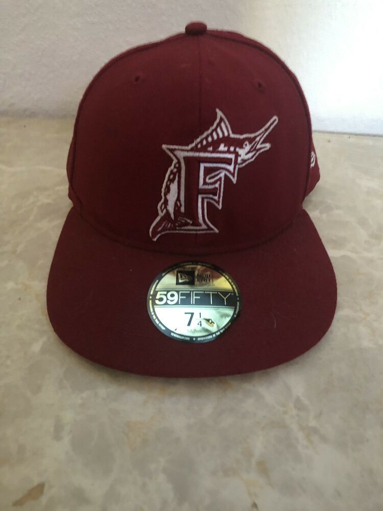 MLB Fitted Hat- Vintage Rare Red Florida Marlins #fashion #clothing