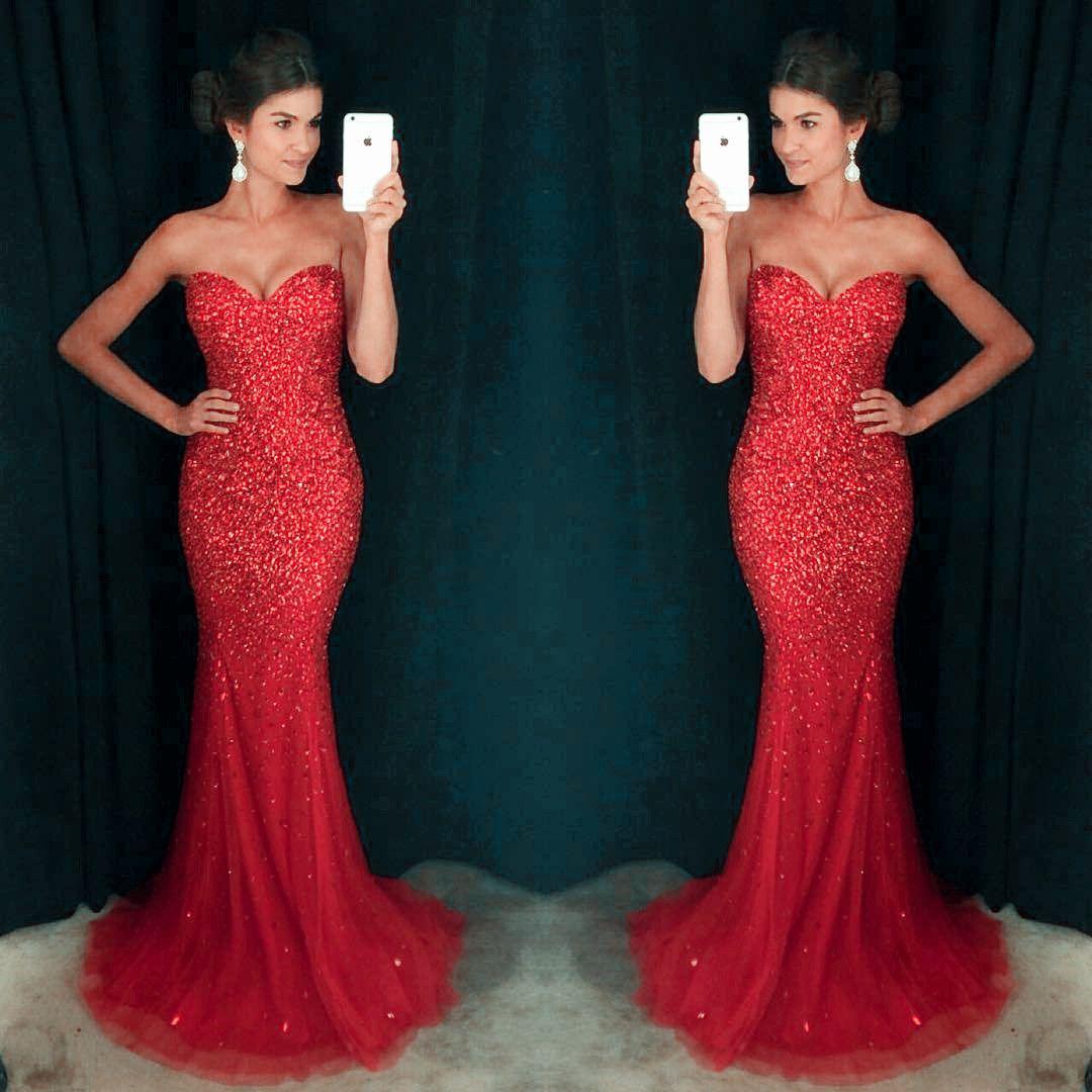 Shinny sparkle red rhinestone sweetheart long mermaid tulle prom